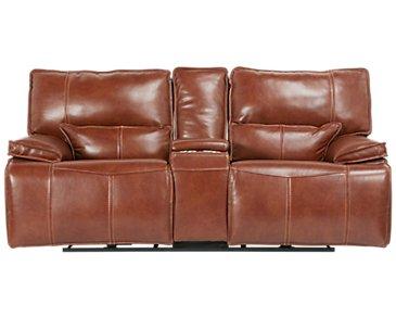 Jesse Medium Brown Leather Power Reclining Console Loveseat