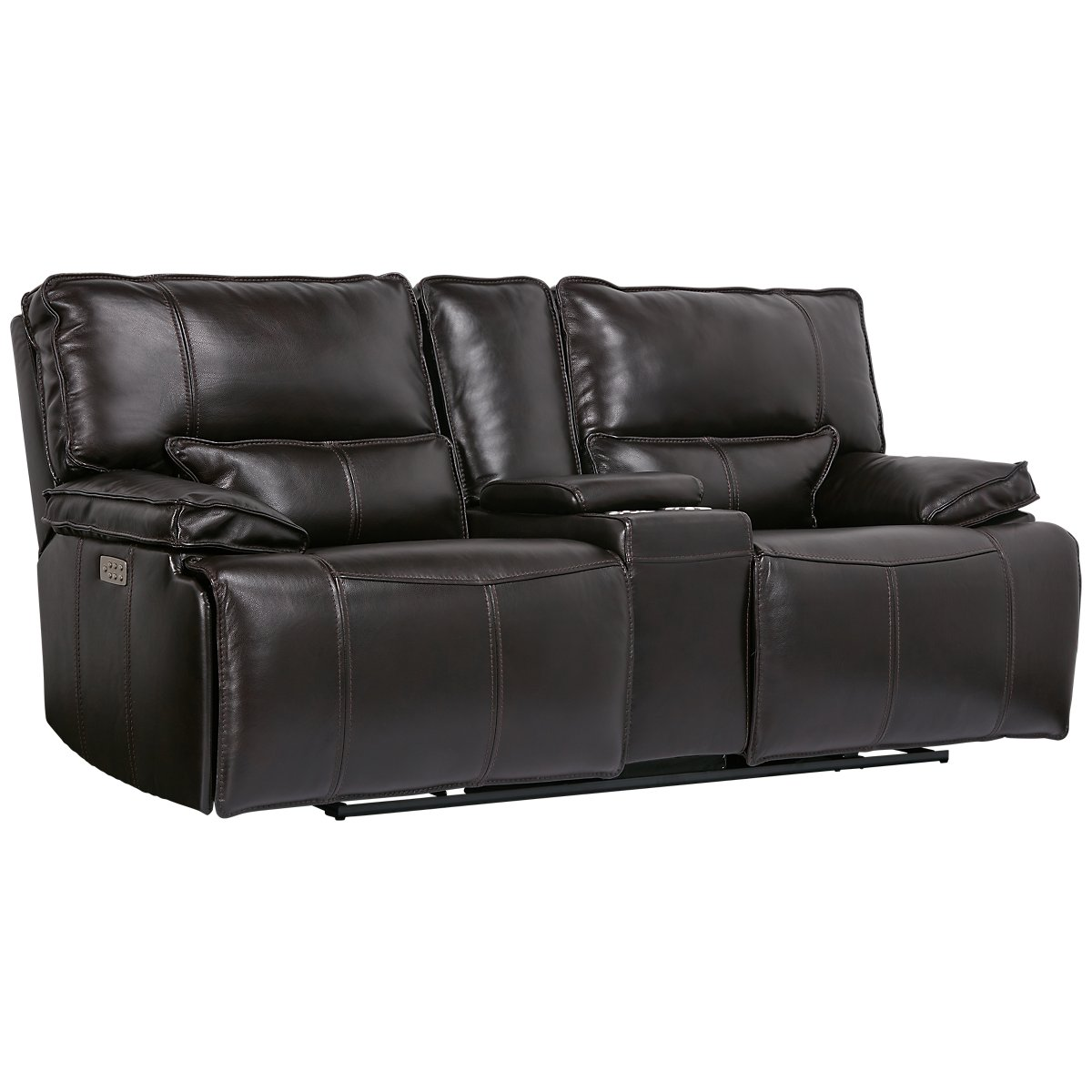 city furniture jesse dark brown leather small dual power reclining two arm sectional. Black Bedroom Furniture Sets. Home Design Ideas