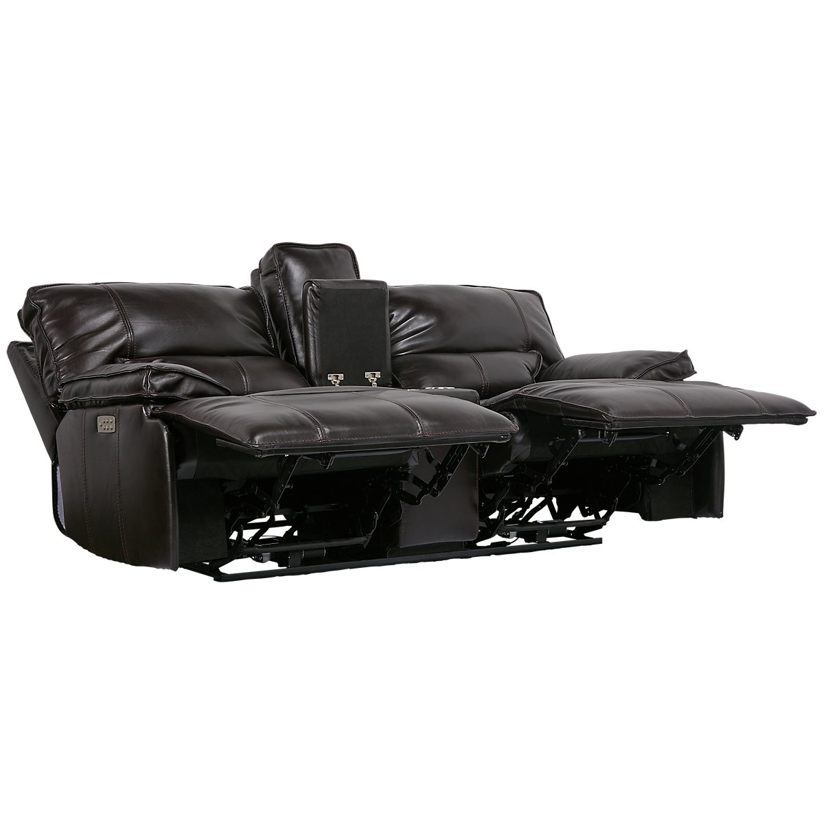 City Furniture: Jesse Dark Brown Leather Power Reclining Living Room