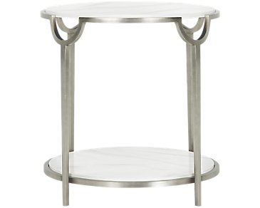 Morello Marble Round End Table