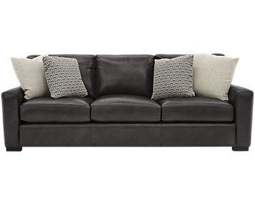 Germaine Dark Gray Leather Sofa