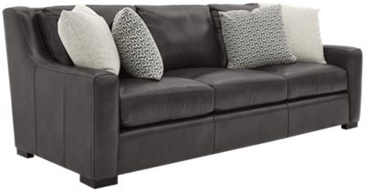 Germaine Dark Gray Leather Sofa. VIEW LARGER