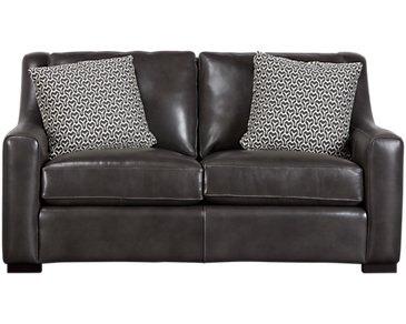 Germaine Dark Gray Leather Loveseat
