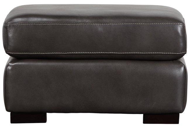 Germaine Dark Gray Leather Ottoman
