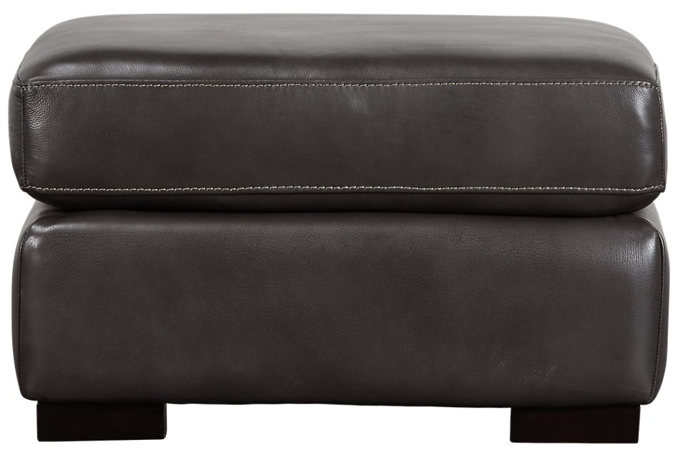 Peachy Germaine Dark Gray Leather Ottoman Living Room Ottomans Dailytribune Chair Design For Home Dailytribuneorg