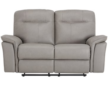 Mason Gray Leather & Vinyl Reclining Loveseat