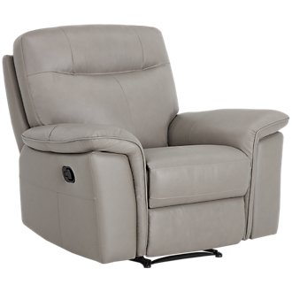 Mason Gray Leather & Vinyl Recliner
