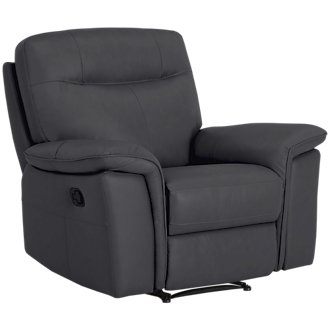 Mason Dark Blue Leather & Vinyl Recliner