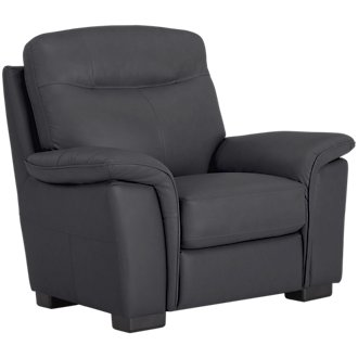 Mason Dark Blue Leather & Vinyl Chair