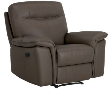 Mason Dark Brown Leather & Vinyl Power Recliner