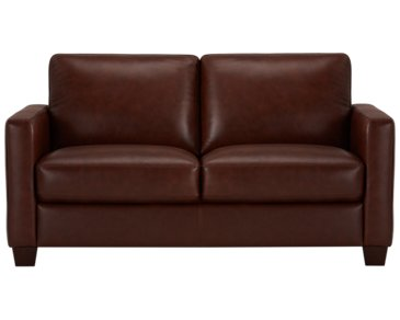 Wesley Medium Brown Leather Loveseat