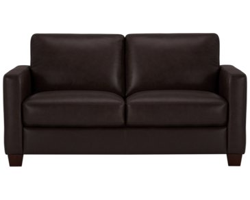 Wesley Dark Brown Leather Loveseat