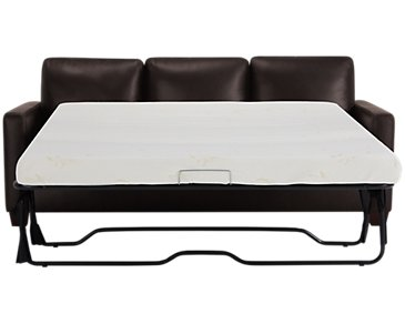 Wesley Dark Brown Leather Memory Foam Sleeper