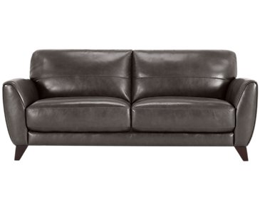 Ezra Dark Gray Leather Sofa