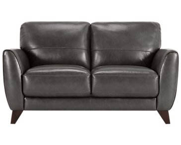 Ezra Dark Gray Leather Loveseat