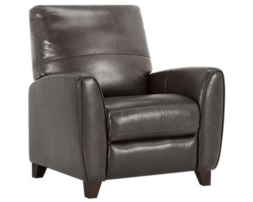 Ezra Dark Gray Leather Recliner