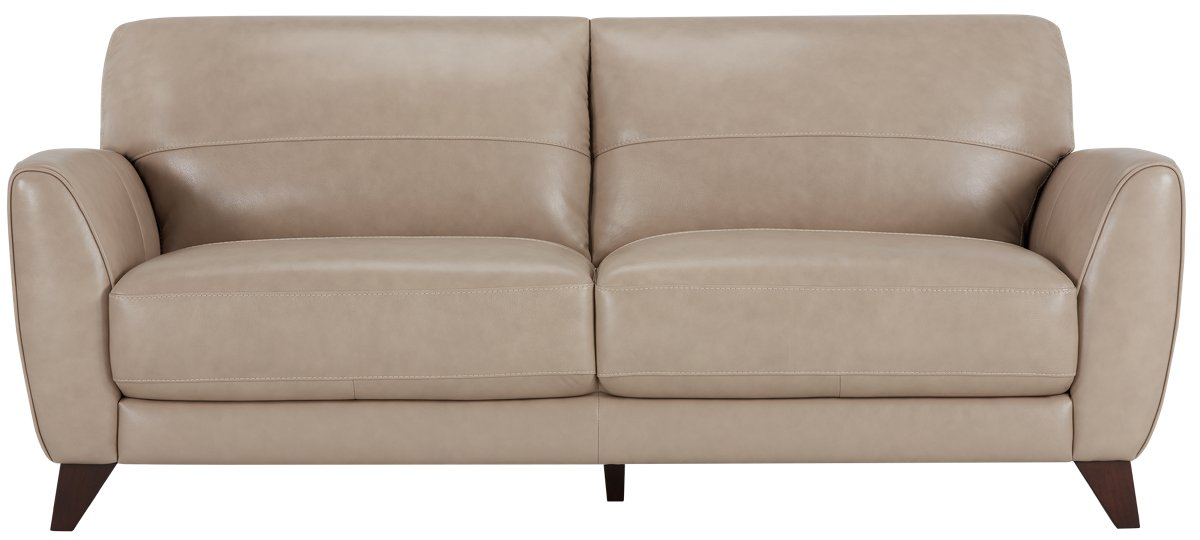 City Furniture Ezra Beige Leather Sofa ~ Beige Color Leather Sofa