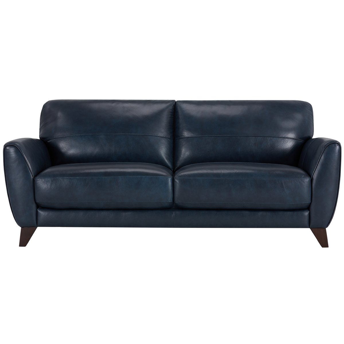 City furniture ezra dark blue leather sofa for Blue leather sofa