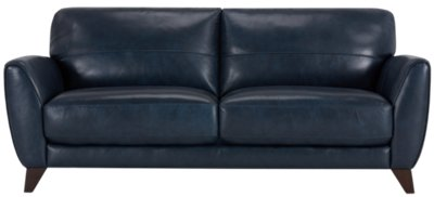 Ezra Dark Blue Leather Sofa