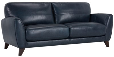 City Furniture Ezra Dark Blue Leather Living Room