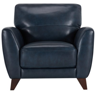 Ezra Dark Blue Leather Chair. VIEW LARGER
