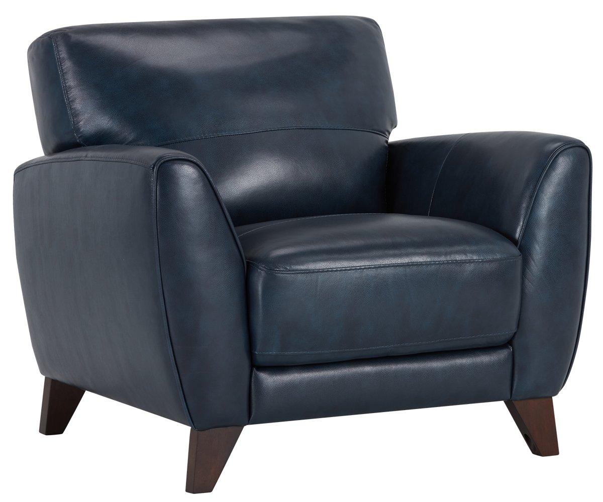 city furniture: ezra dark blue leather chair