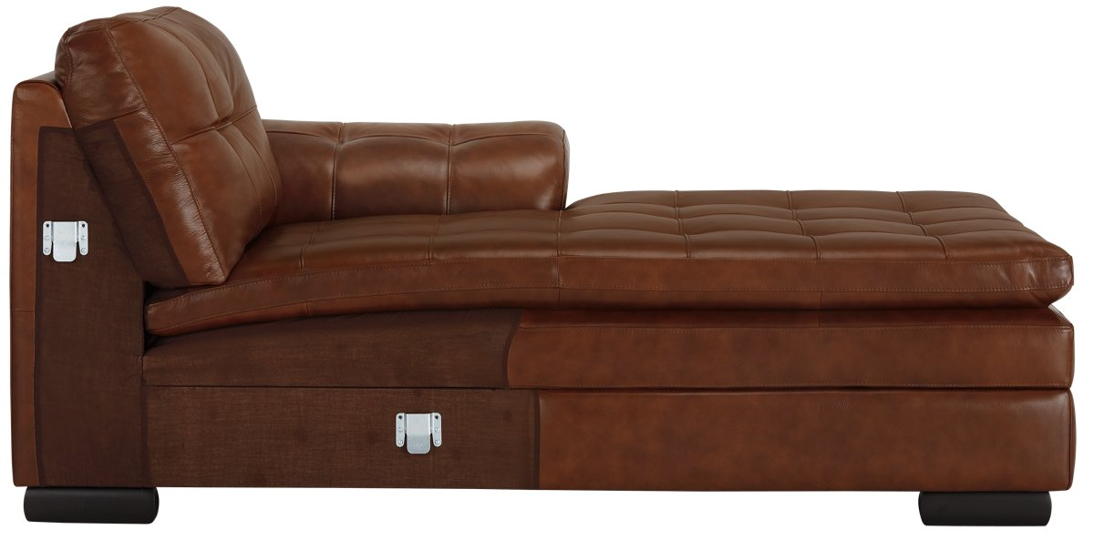 City Furniture Trevor Medium Brown Leather Right Chaise