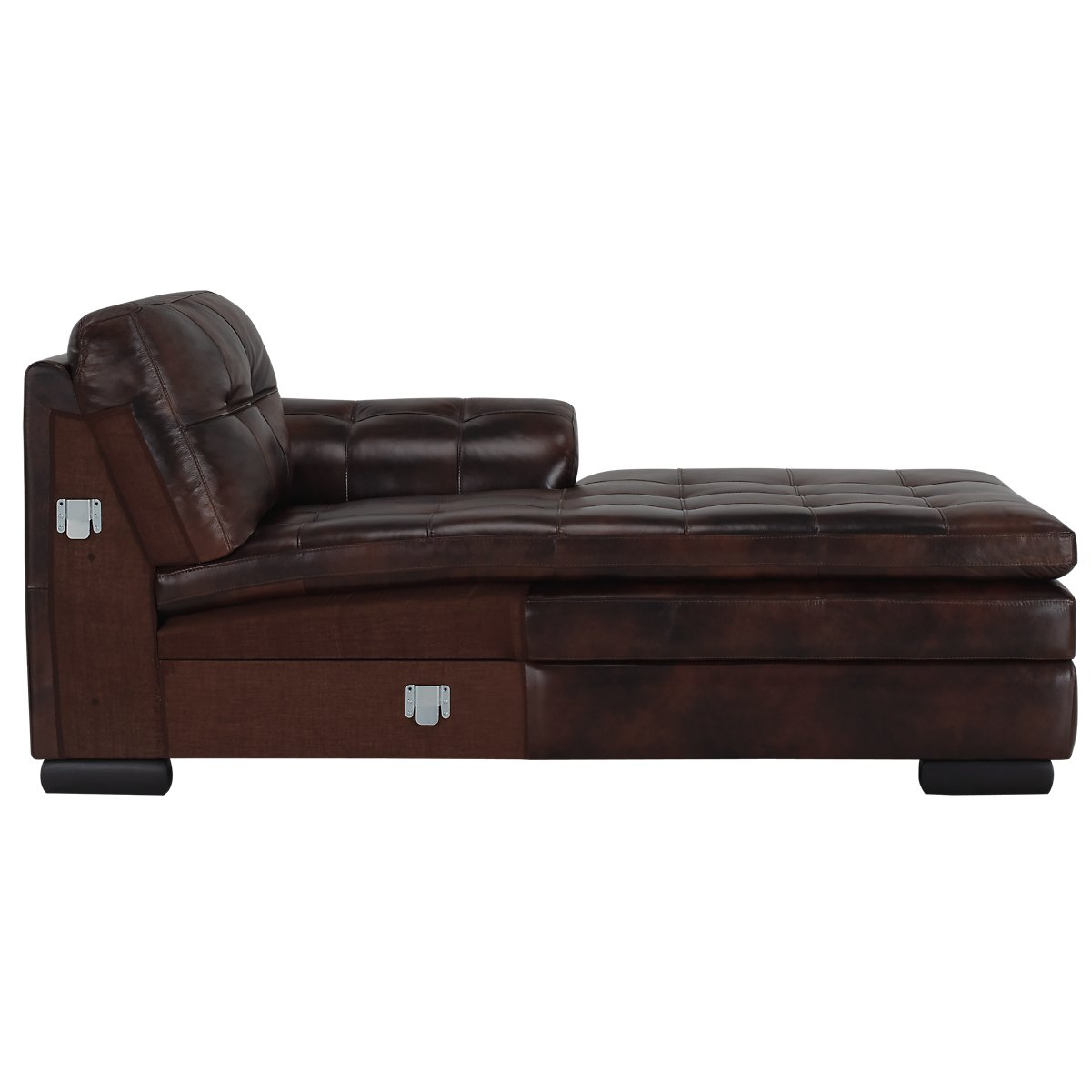 City furniture trevor dark brown leather large right for Brown leather chaise sofa