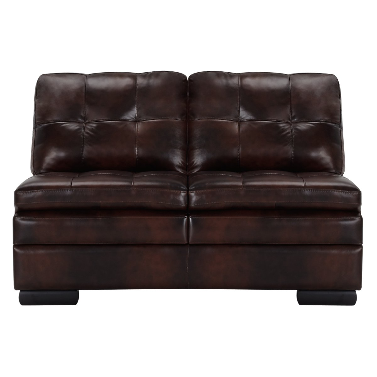 City furniture trevor dark brown leather large right for Brown leather chaise
