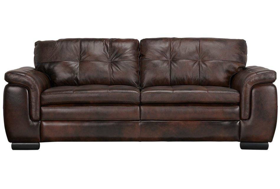 Trevor Dark Brown Leather Sofa | Living Room - Sofas | City ...