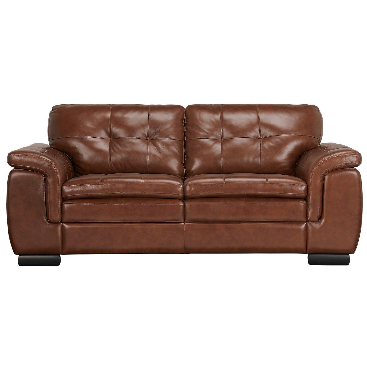 Trevor medium brown leather loveseat