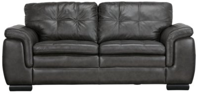 Image Of Trevor Dark Gray Leather Loveseat With Sku:2710084
