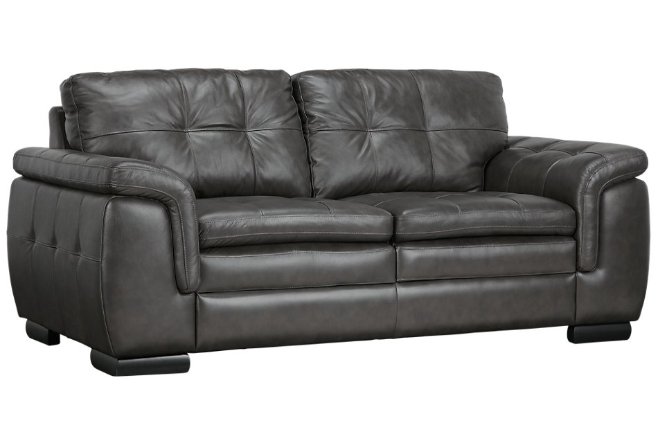 Amazing Trevor Dark Gray Leather Loveseat Living Room Loveseats Alphanode Cool Chair Designs And Ideas Alphanodeonline