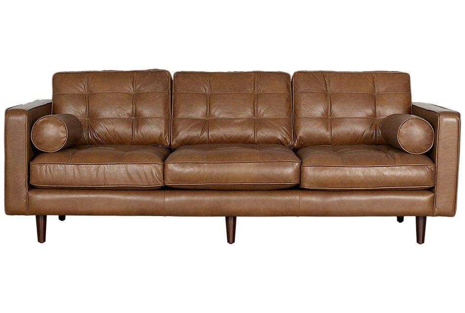 Encino Medium Brown Leather Sofa Living Room Sofas