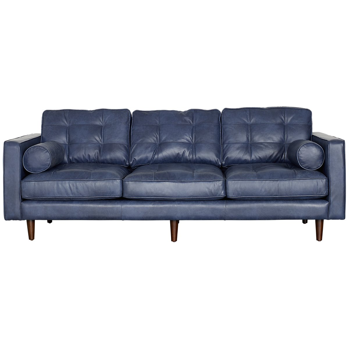 Encino Dark Blue Leather Sofa | Living Room - Sofas | City Furniture