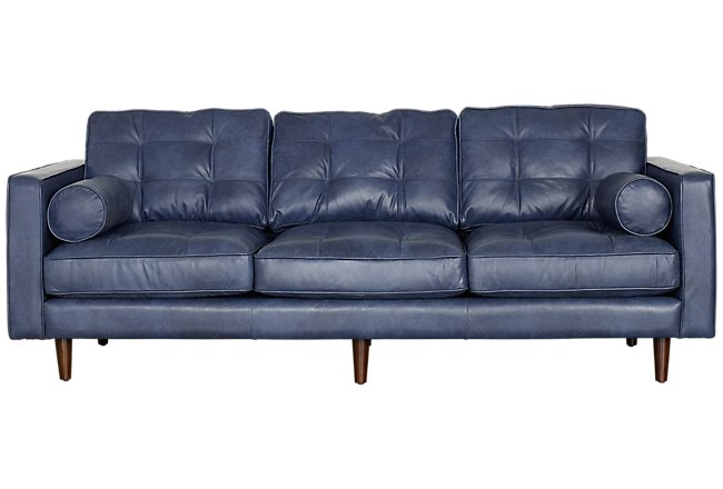 Encino Dark Blue Leather Sofa