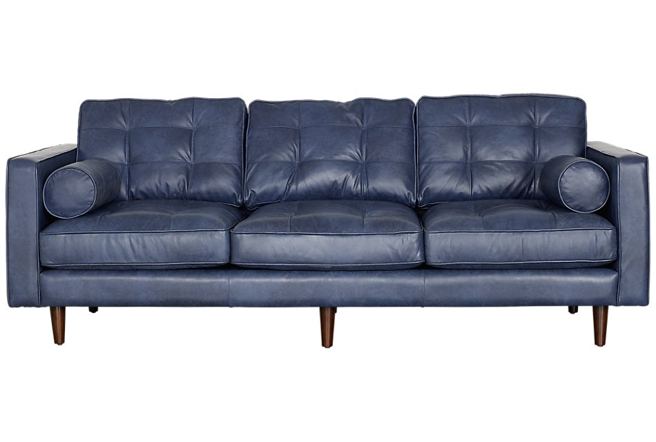 Encino Dark Blue Leather Sofa | Living Room - Sofas | City ...