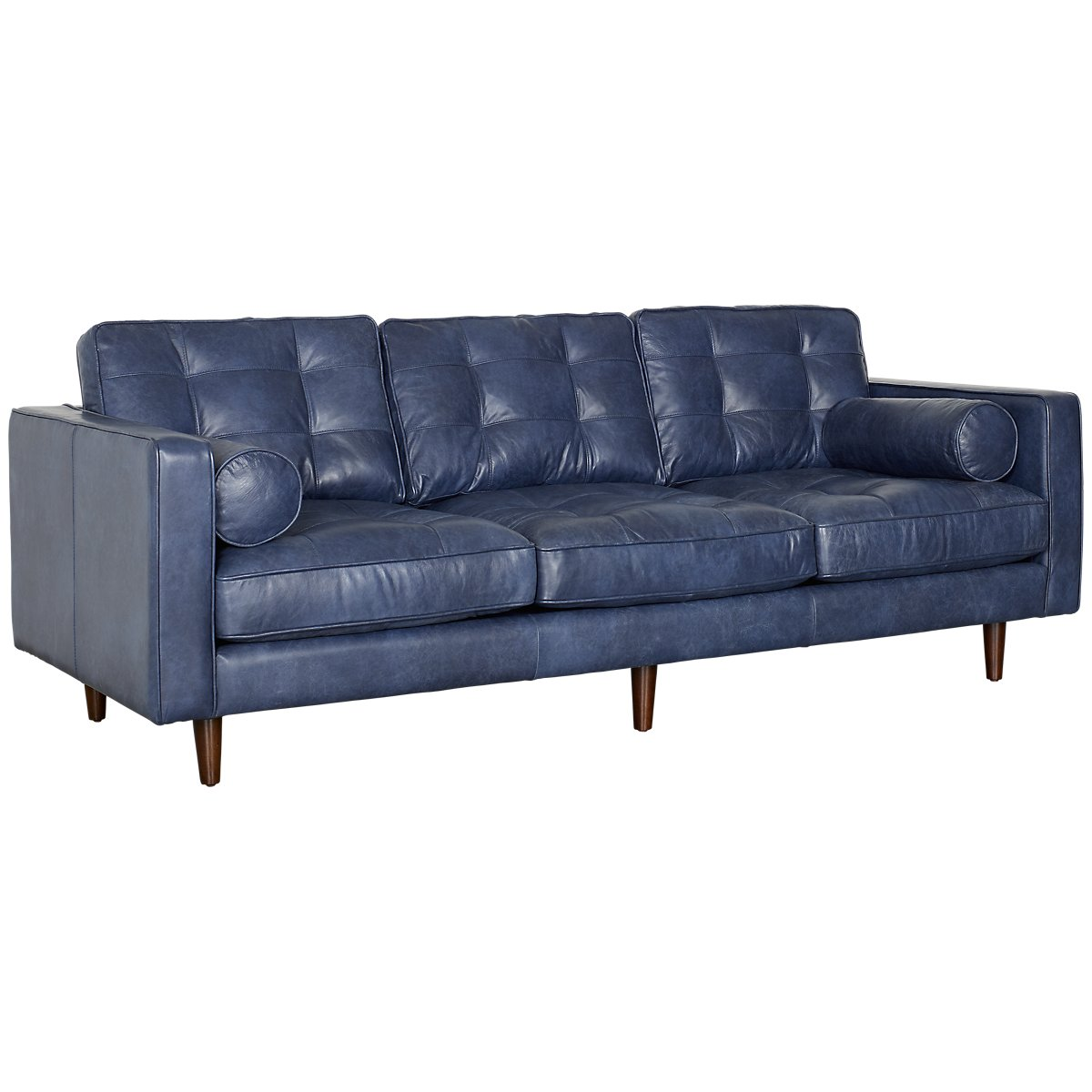 Encino Dark Blue Leather Sofa