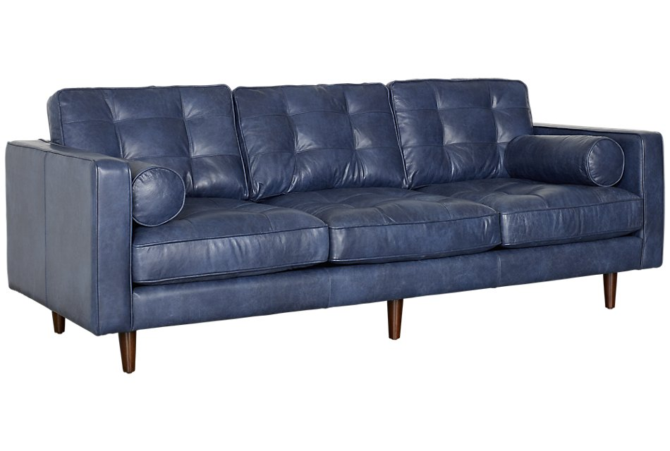 Encino Dark Blue Leather Sofa   Living Room - Sofas   City ...
