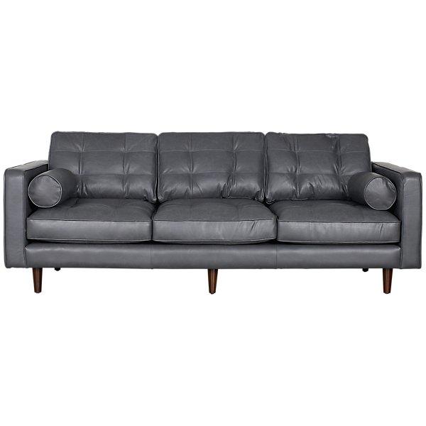 Image Of Encino Gray Leather Sofa With Sku 2710216