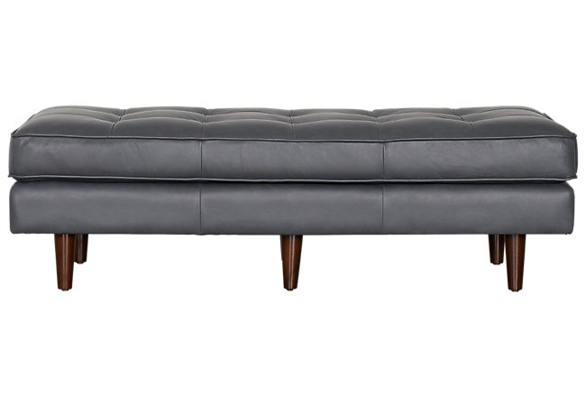 Encino Gray Leather Ottoman