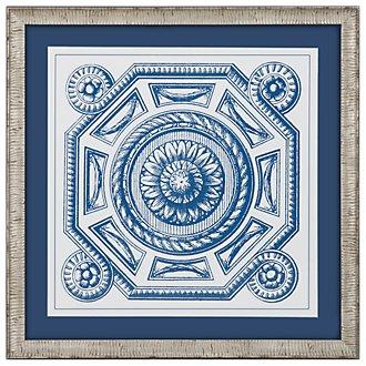Medallion 2 Blue Framed Wall Art
