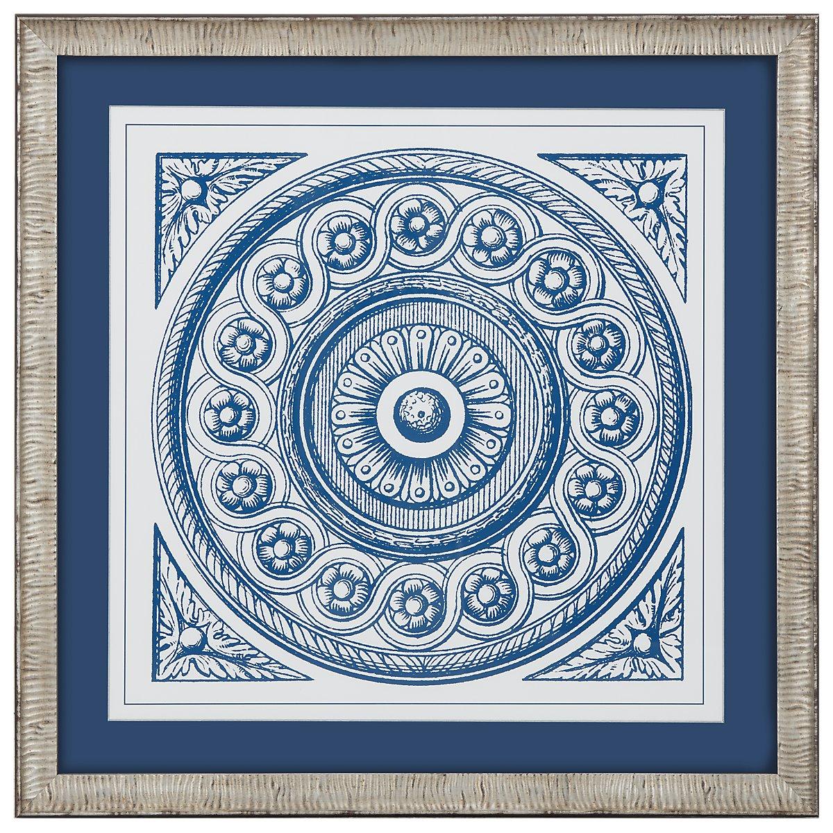 Medallion 4 Blue Framed Wall Art