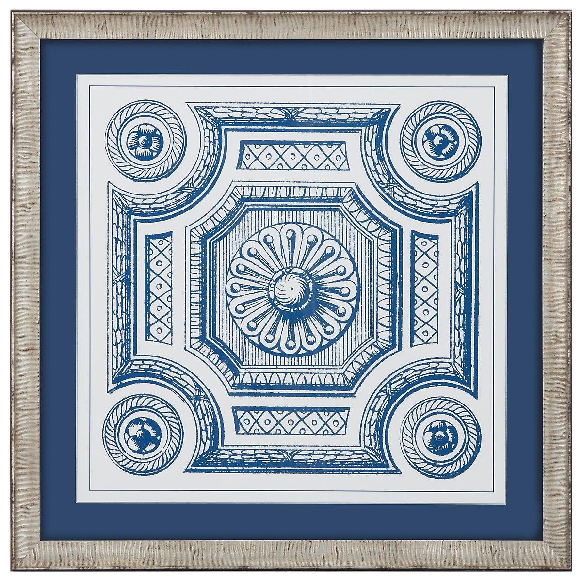 Medallion 3 Blue Framed Wall Art