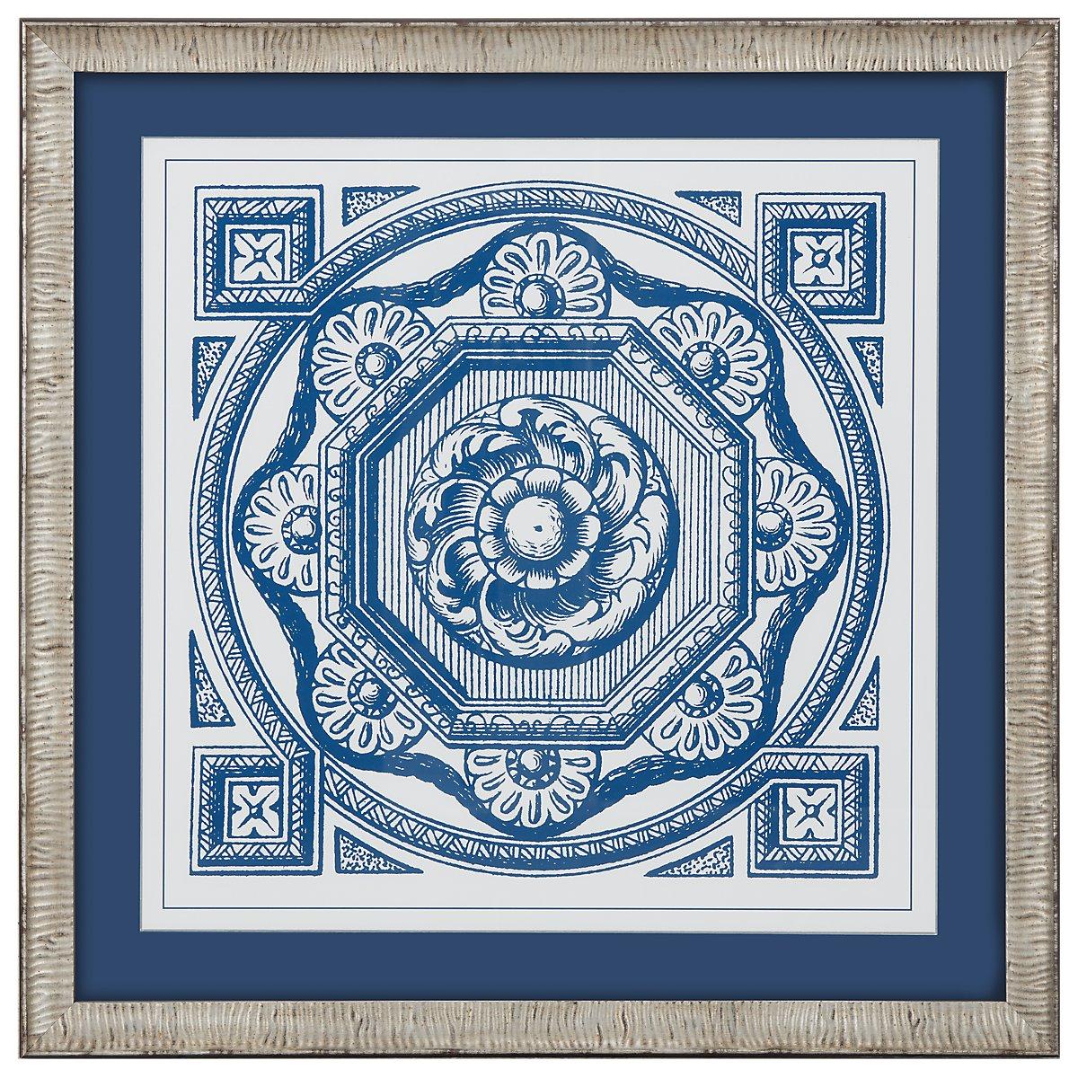 Medallion 1 Blue Framed Wall Art