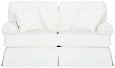 Harris White Fabric Loveseat