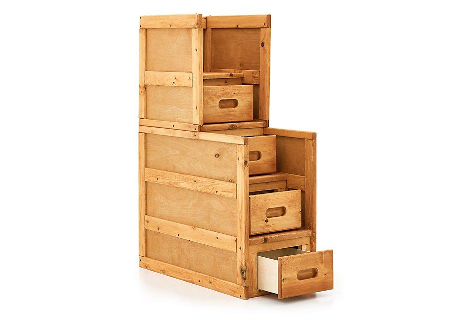 Cinnamon Mid Tone Wood Stairway Chest