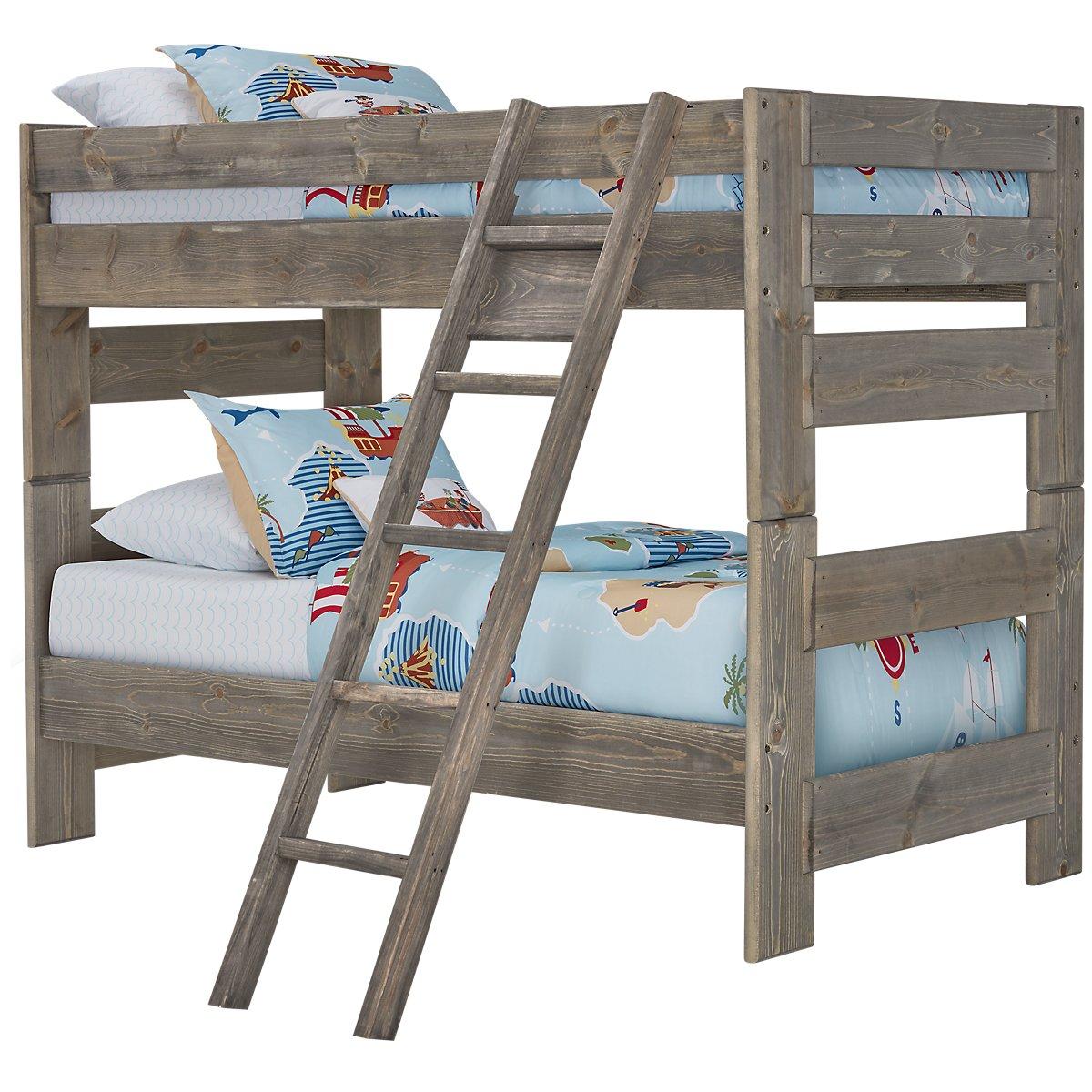 Cinnamon Gray Wood Bunk Ladder