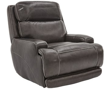 Gable Pewter Leather Glider Recliner