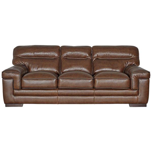 Image Of Alexander Medium Brown Leather Sofa With Sku 3610150